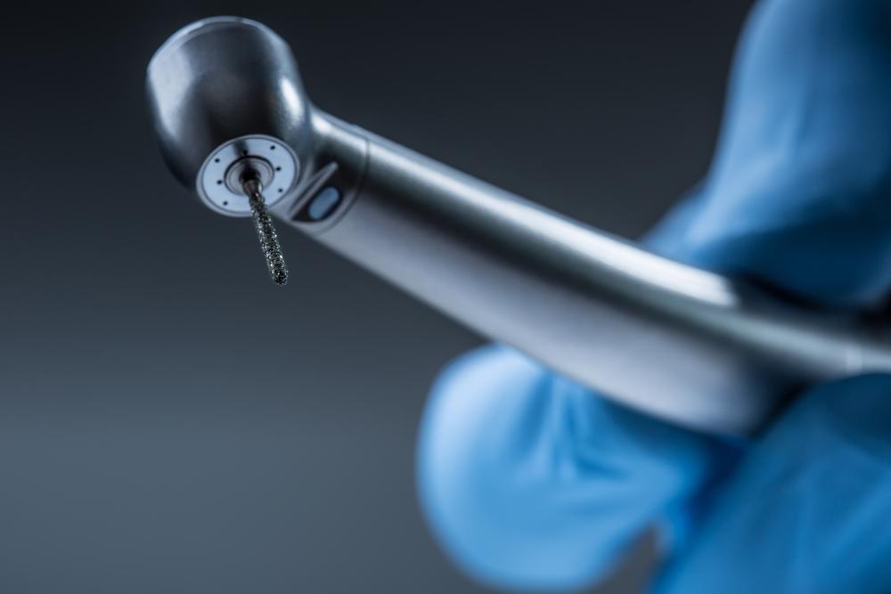 Dental instruments. Denta high speedl turbine. Dental diamond cylinder bur with hand-piece