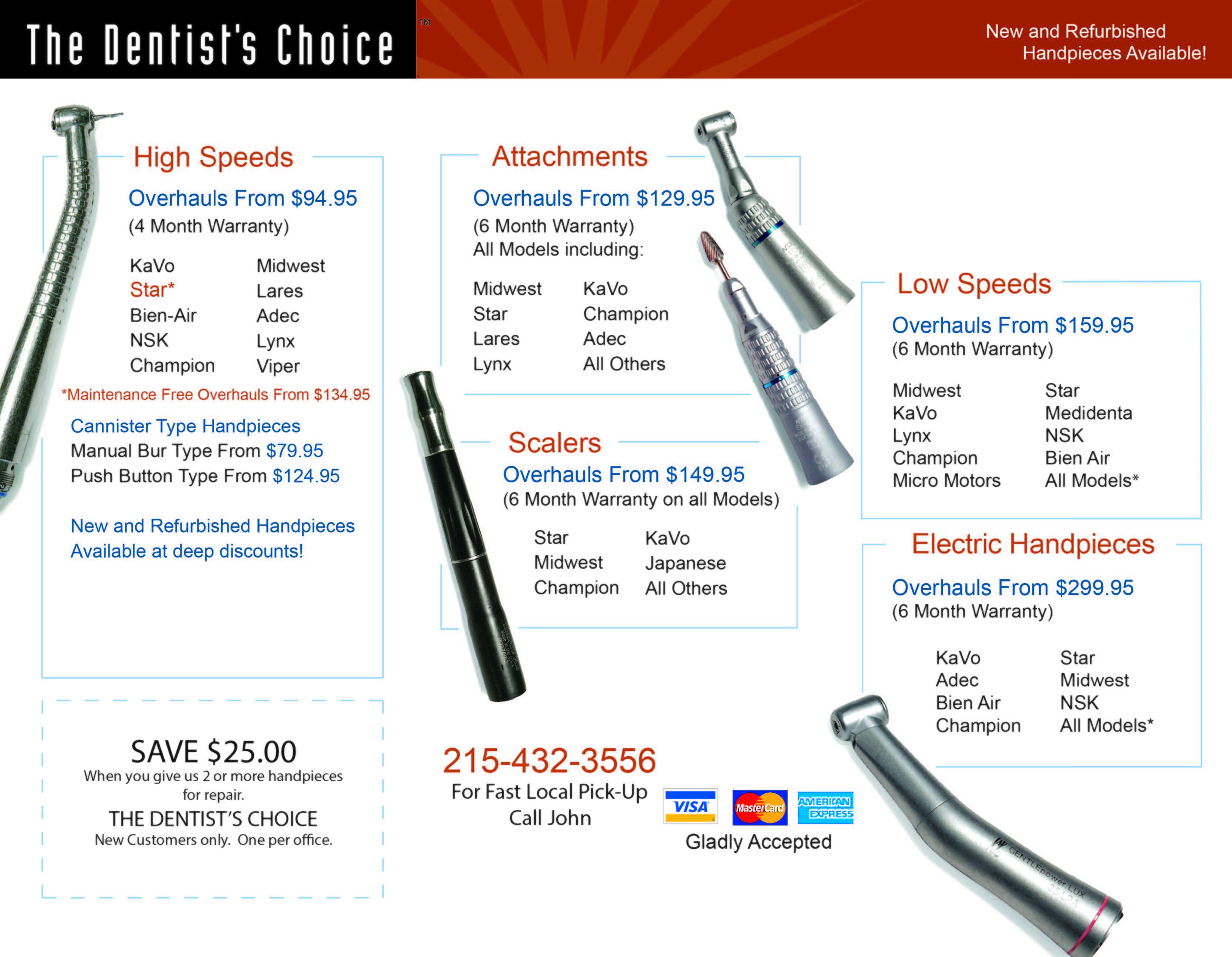 Handpiece Repair Prices